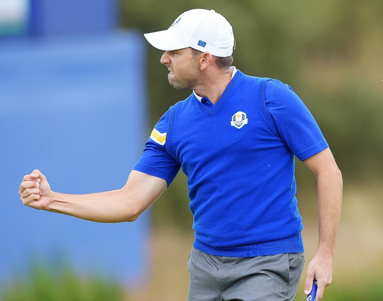 Spanish star Sergio Garcia shows off today's Scotland inspired outfit