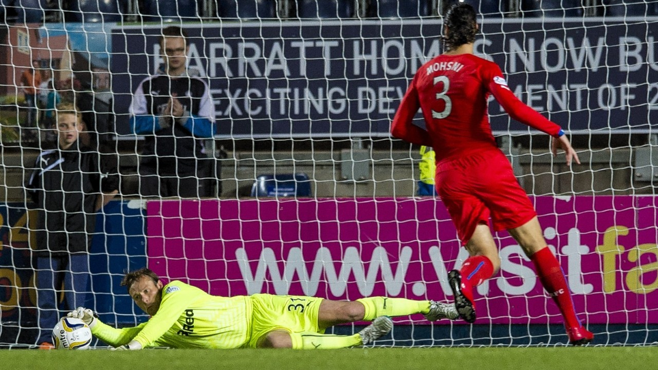 Steven Simonsen could only palm the ball out and Rory Loy raced in on the loose ball to put Falkirk 1-0 ahead  against Rangers