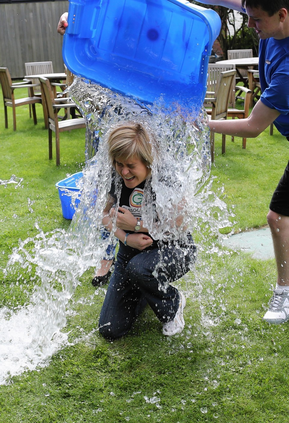 Sturgeon chilled out with an ice bucket for charity but she prefers chilling out with a glass of wine
