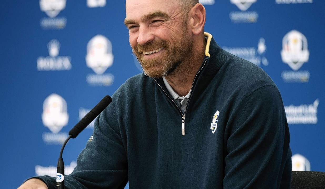 Swede Thomas Bjorn is another who has been in a jovial mood