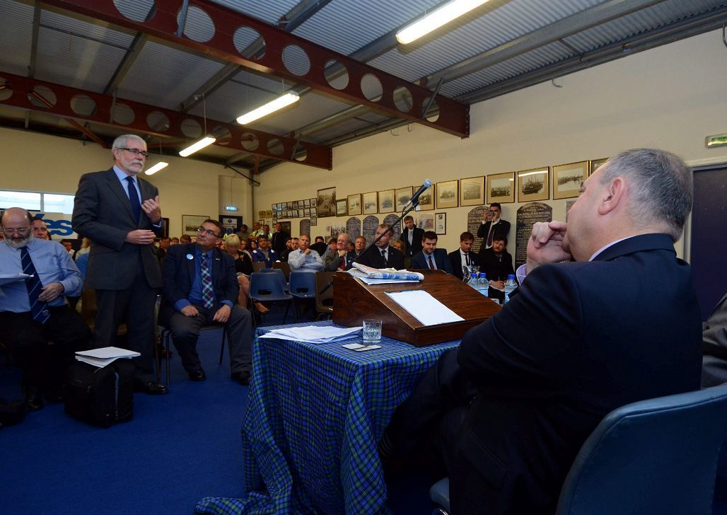 Bertie Armstrong, standing, clashes with Alex Salmond