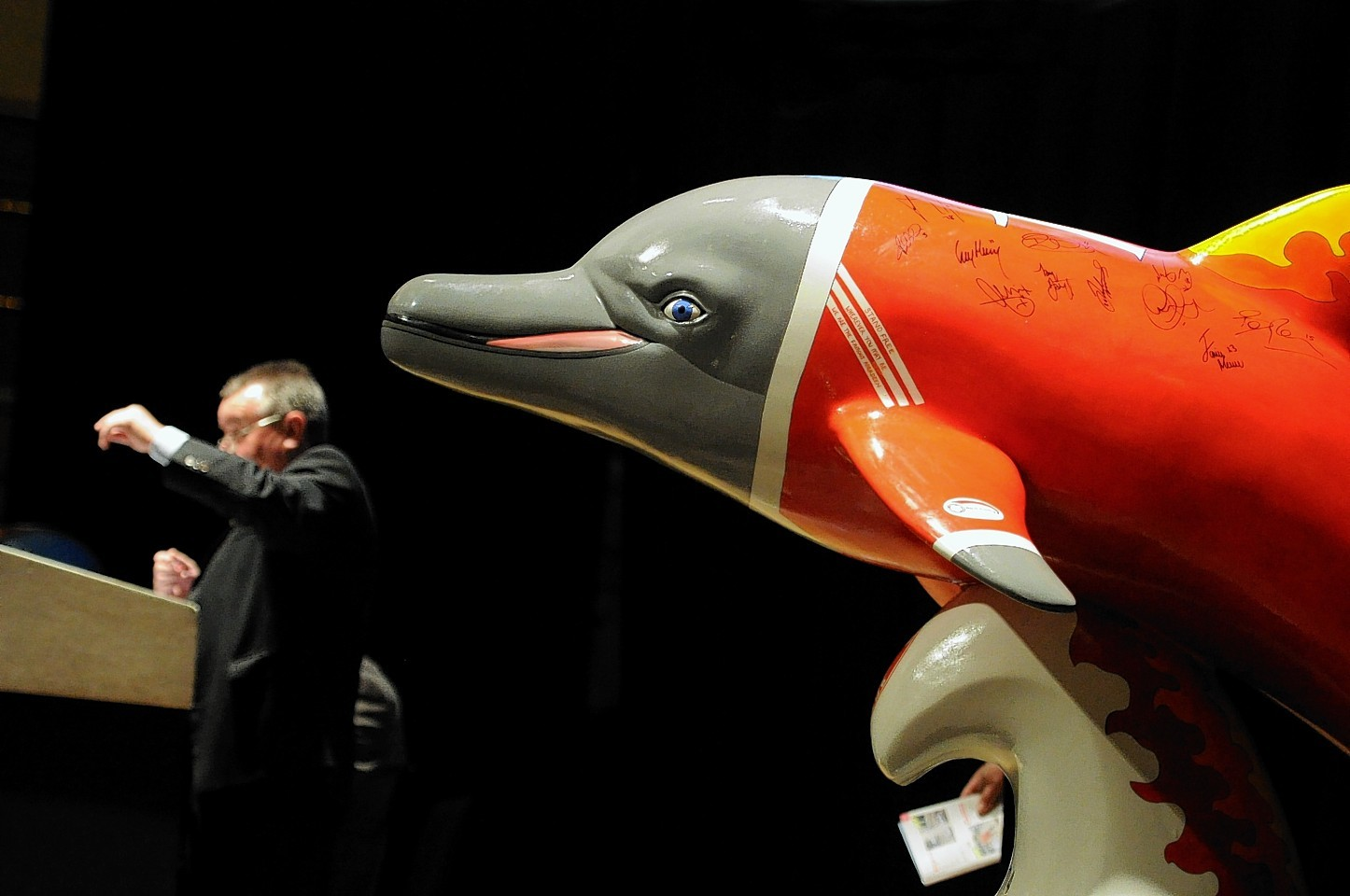 Going, going gone. Dolphin statues were up for grabs at this recent charity auction in Aberdeen