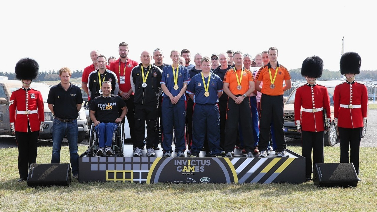 Prince Harry at the Jaguar Landrover driving Challenge  in Gaydon, Warwickshire the first event in the Invictus Games.