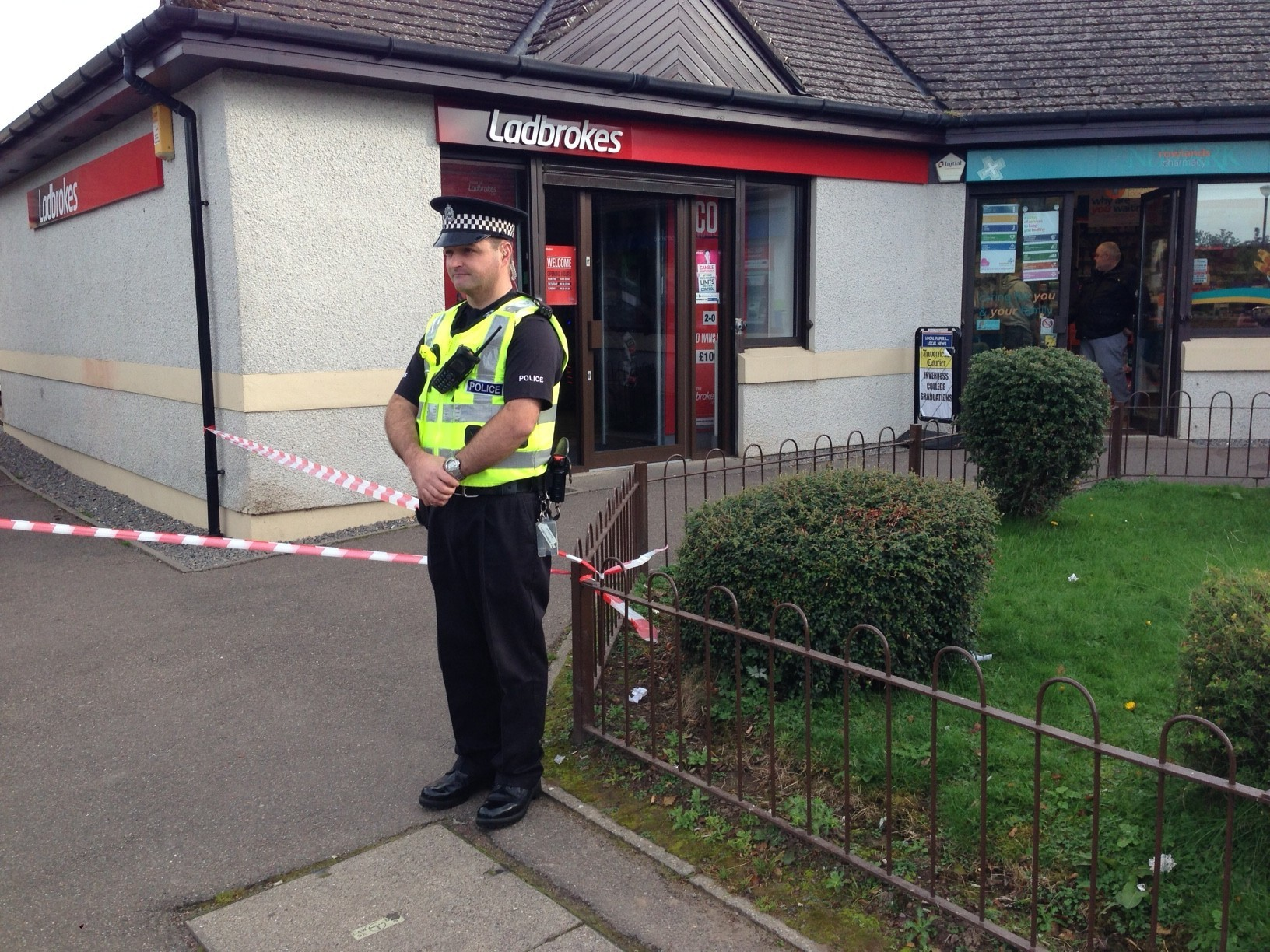 Police at the scene of the incident in Inverness