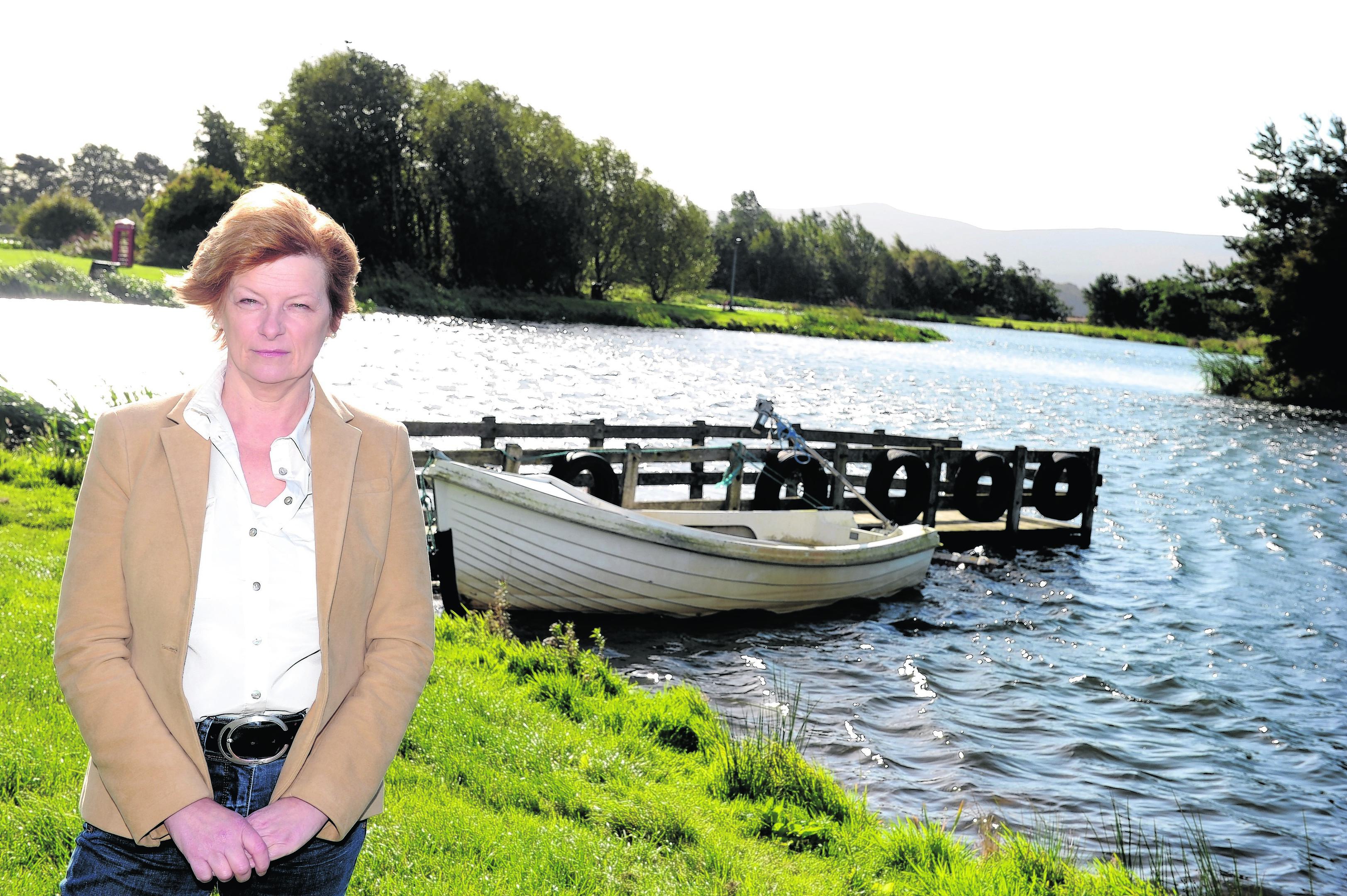 Owner Jeni Wood at Loch Insch Fishery, Culsalmond, Insch, Aberdeenshire.