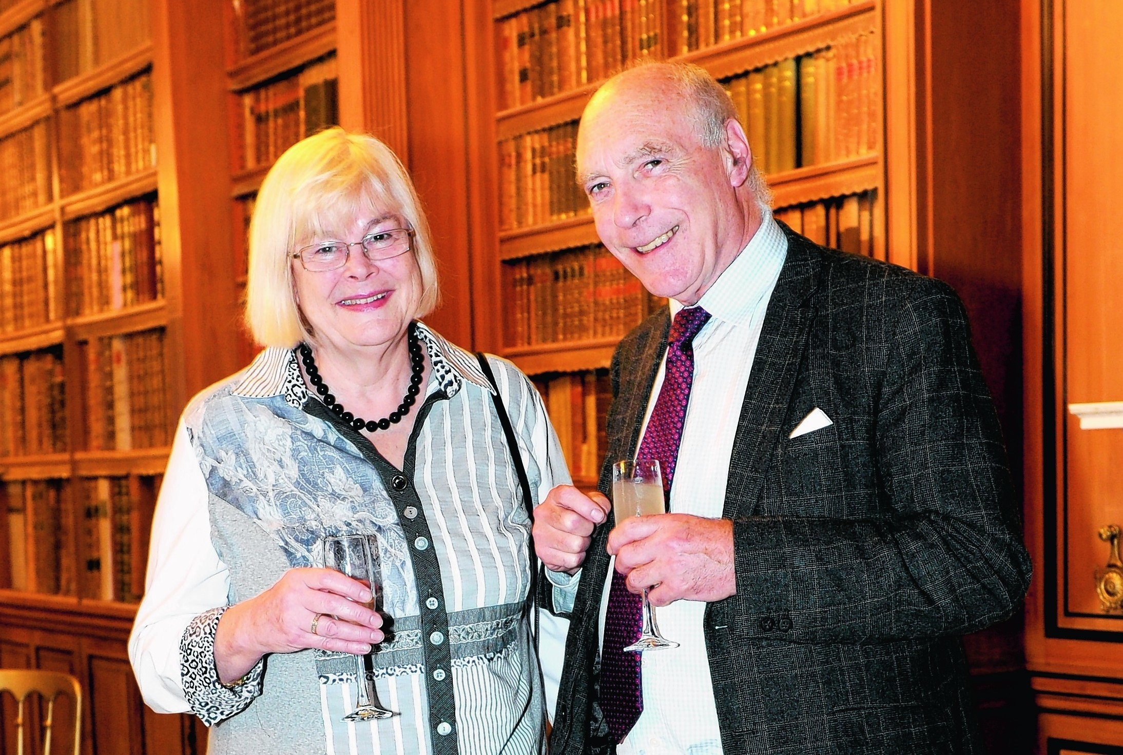 Delyth Parkinson and Roger Williams attending SHADES, Haddo Arts Festival 2014 launch event at Haddo House library.