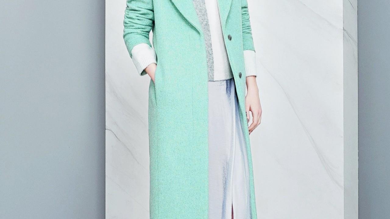 Autograph pastel coat, £110; Autograph jumper, £45; Autograph skirt, £49.50; shoes, £49.50; all M&S