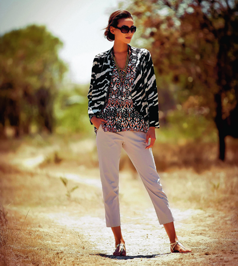 Animal print biker jacket, £39; Aztec print top, £26; capri trousers, £26 and necklace, £10, all from M&Co