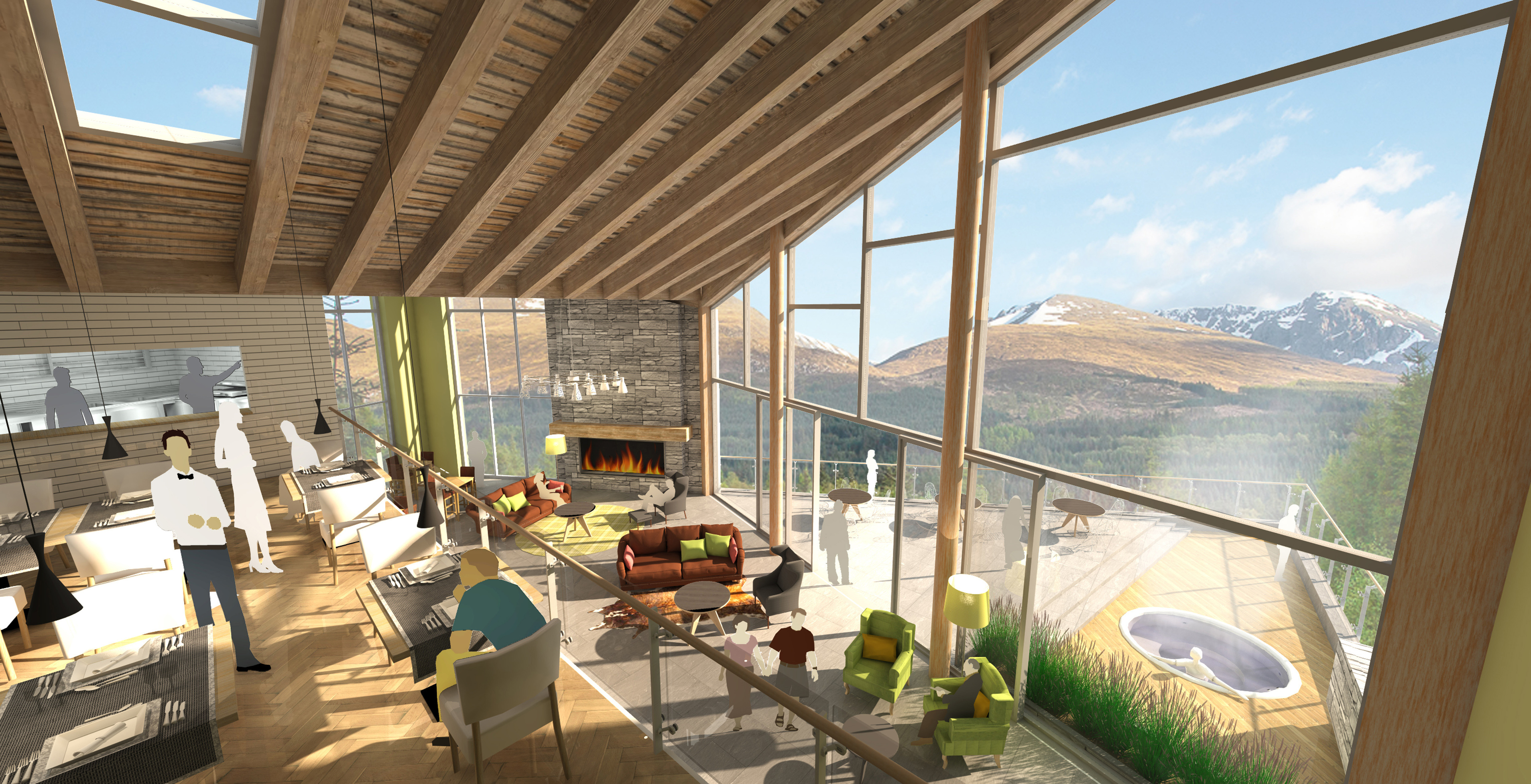 Artist's impression of the interior of the five-start resort hotel with views of Ben Nevis