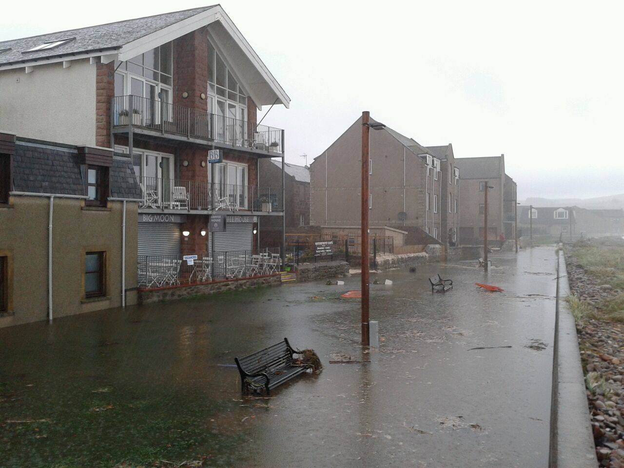 Rising flood waters along Stonehaven beachfront