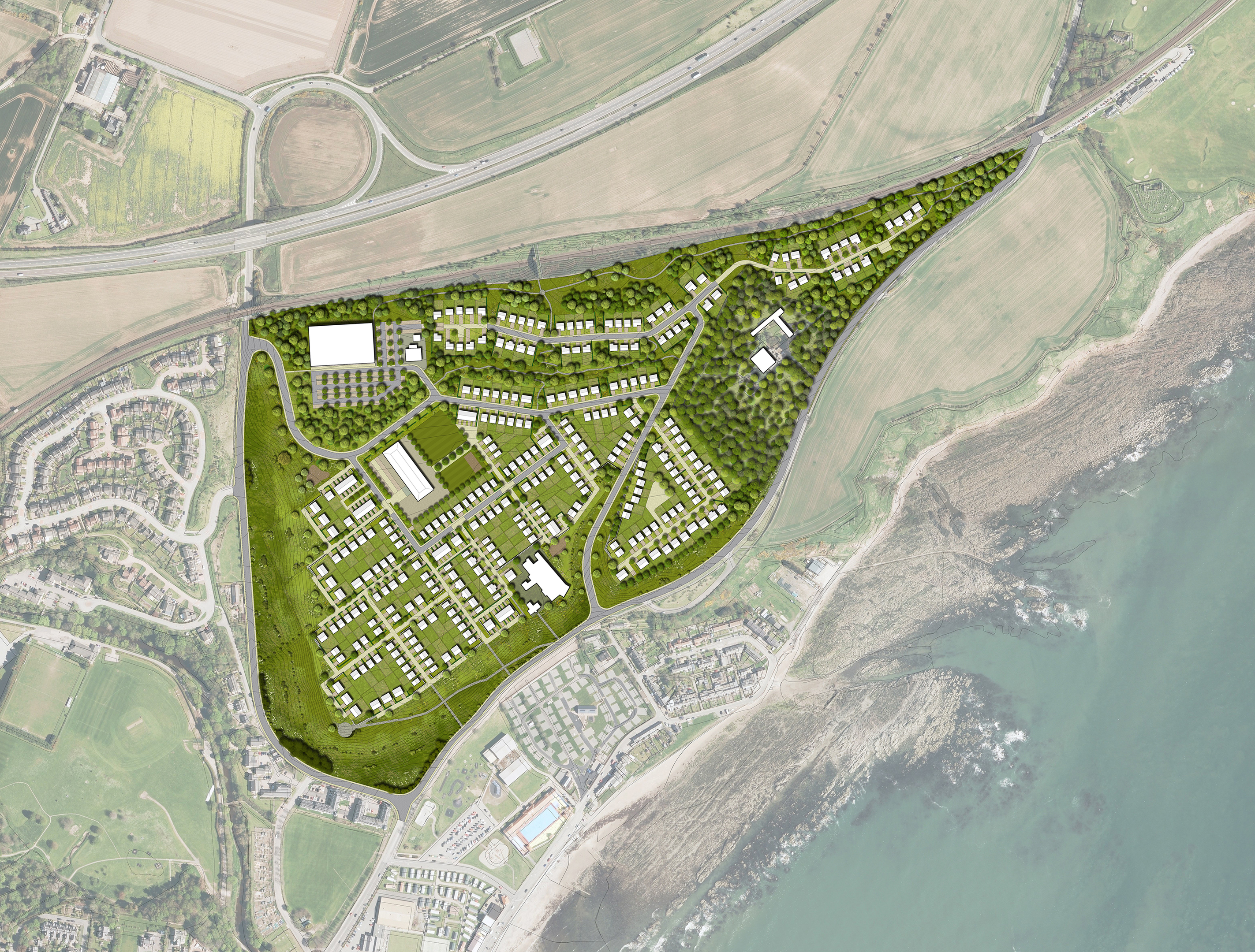 Stewart Milne Homes want to build 400 homes, a supermarket, petrol station and community facilities at Mains of Cowie, Stonehaven