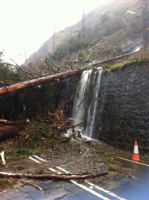 The scene at one of the A82 blockages
