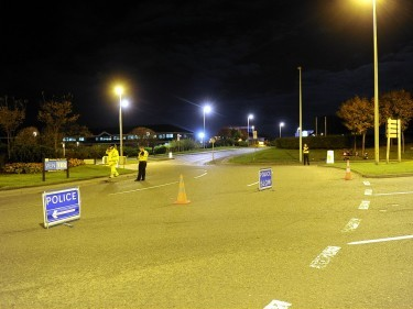 The scene of the crash at the Wellington Road - Hareness Road roundabout