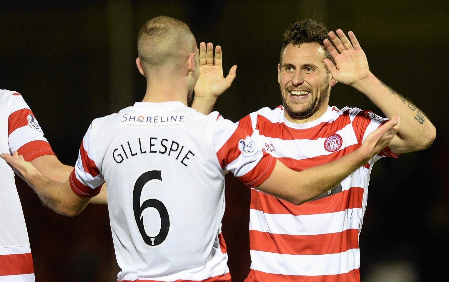 Andreu and Gillespie celebrate Hamilton's second goal