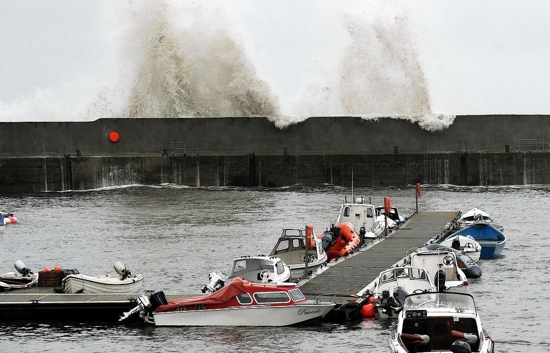 Waves batter Ballintore Harbour