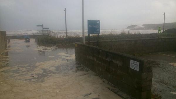 Flooding in Stonehaven. Picture by Twitter user Ray McRobbie