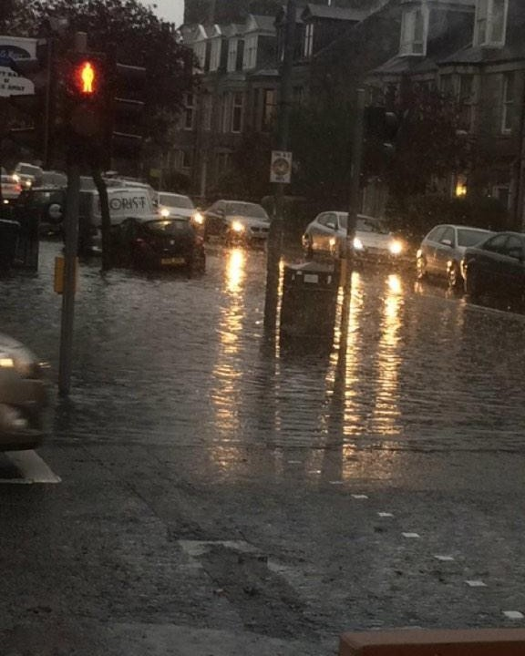 Flooding in Aberdeen city centre last year. Picture by Twitter user James Watt