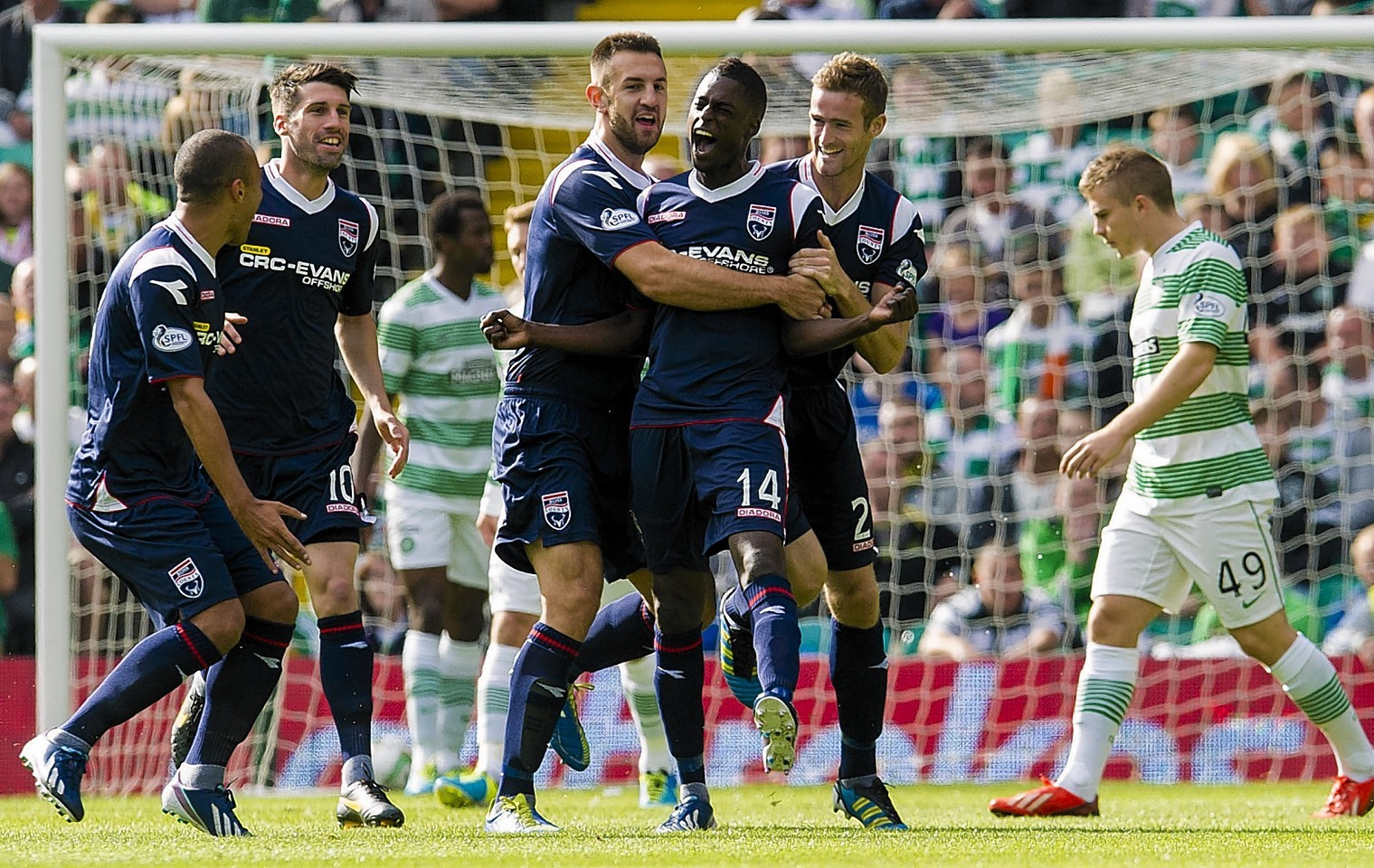 Darren Maatsen celebrates nettting at Parkhead