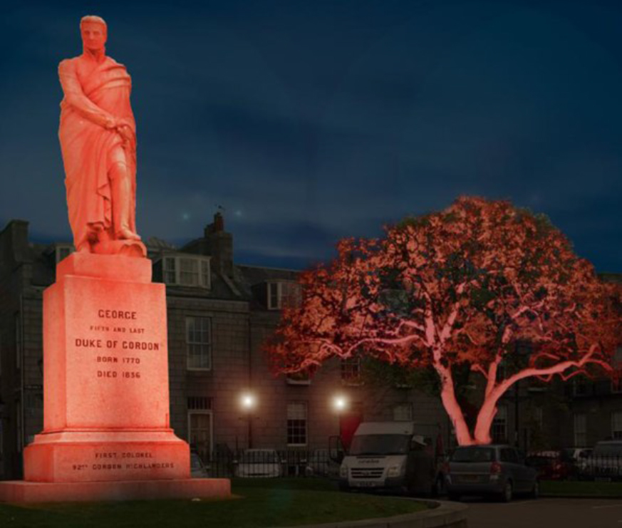 Lighting which has been implemented  in Golden Square by Aberdeen Inspired which impressed judges to retain Aberdeen's Purple Flag accreditation