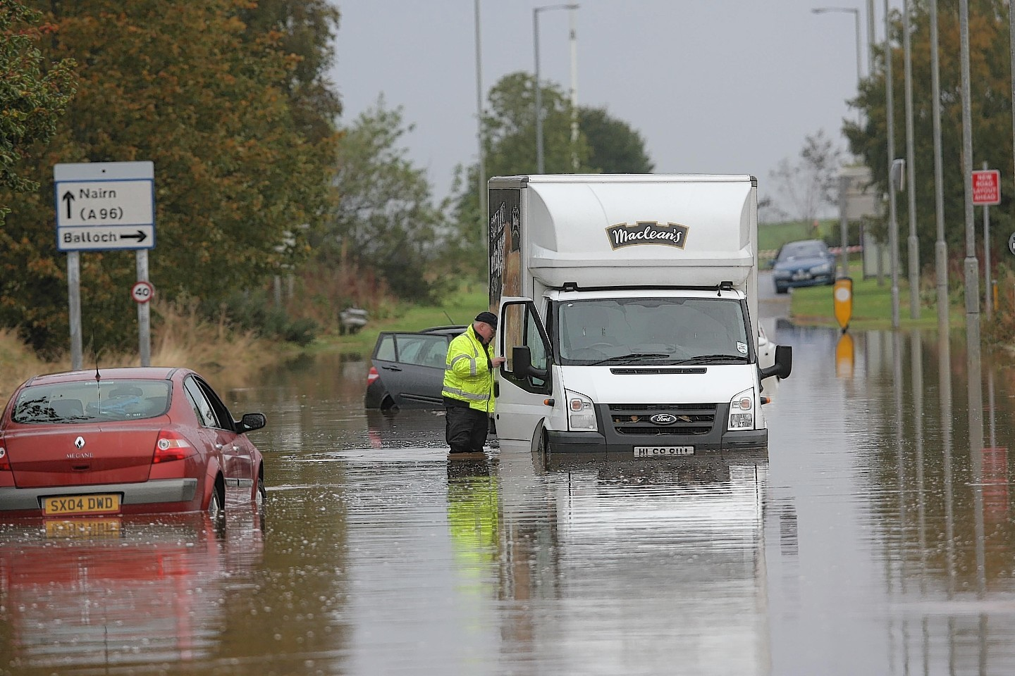 Flooding on Barn Church Road in Inverness