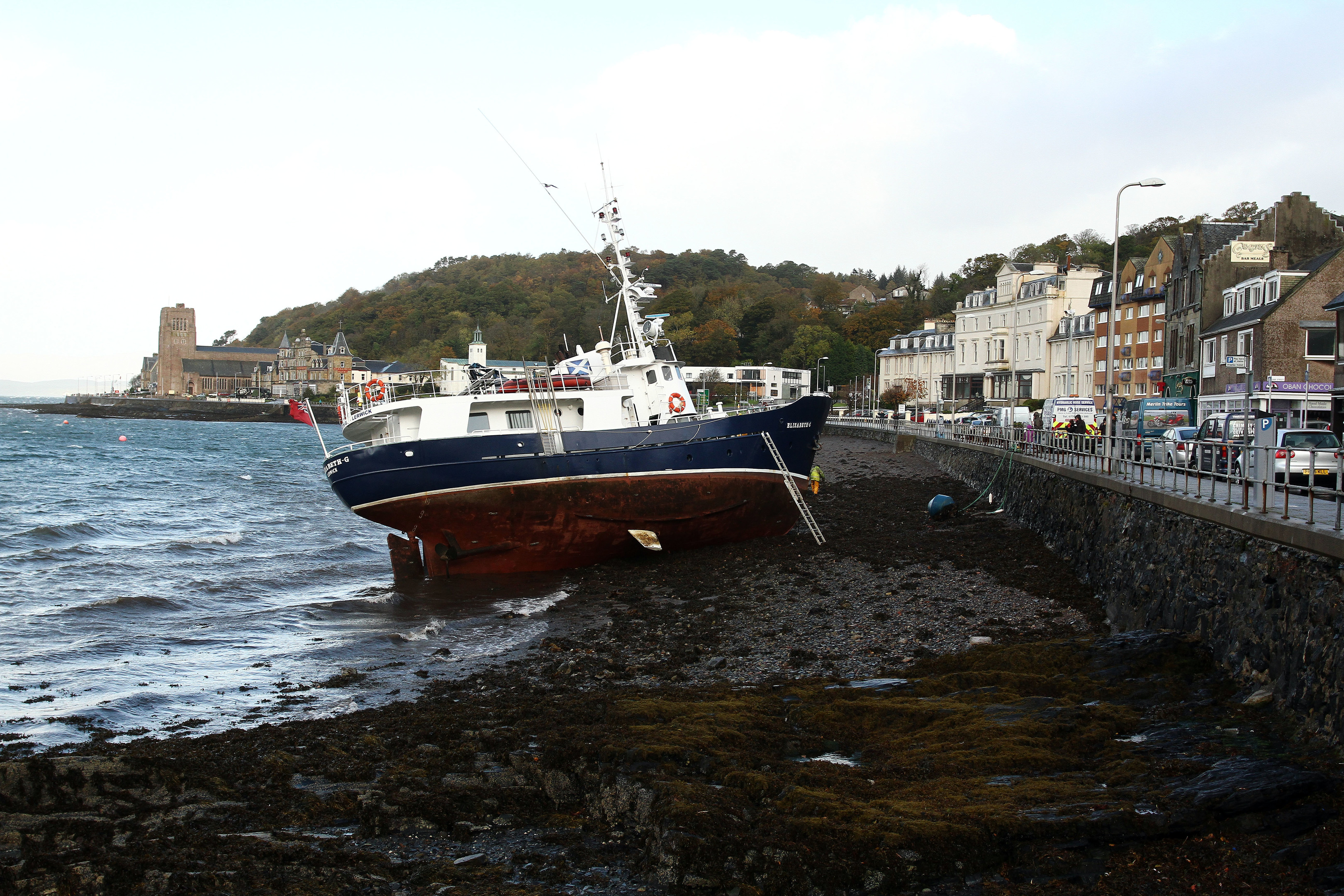 A boat tossed on to the shore by high winds at Oban. Picture by Kevin McGlynn