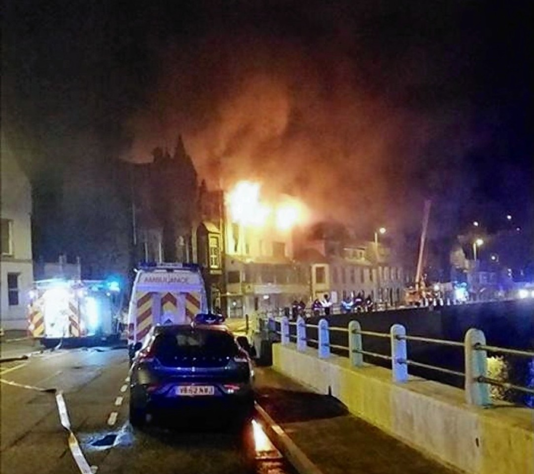 Flames were seen from miles around coming from the roof of the former Macduff hotel