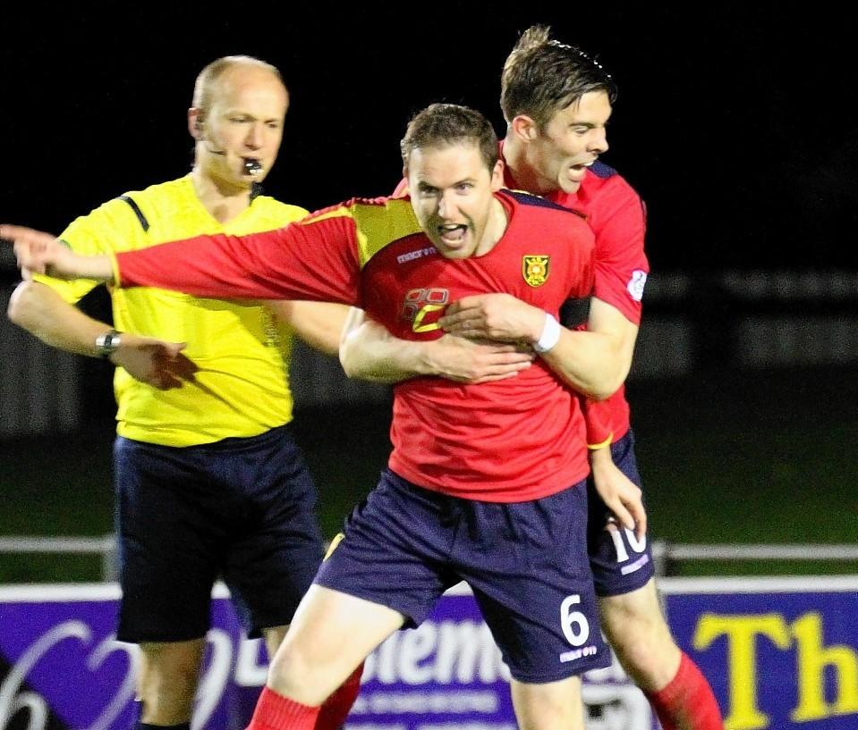 Michael Dunlop celebrates Rovers second goal last night