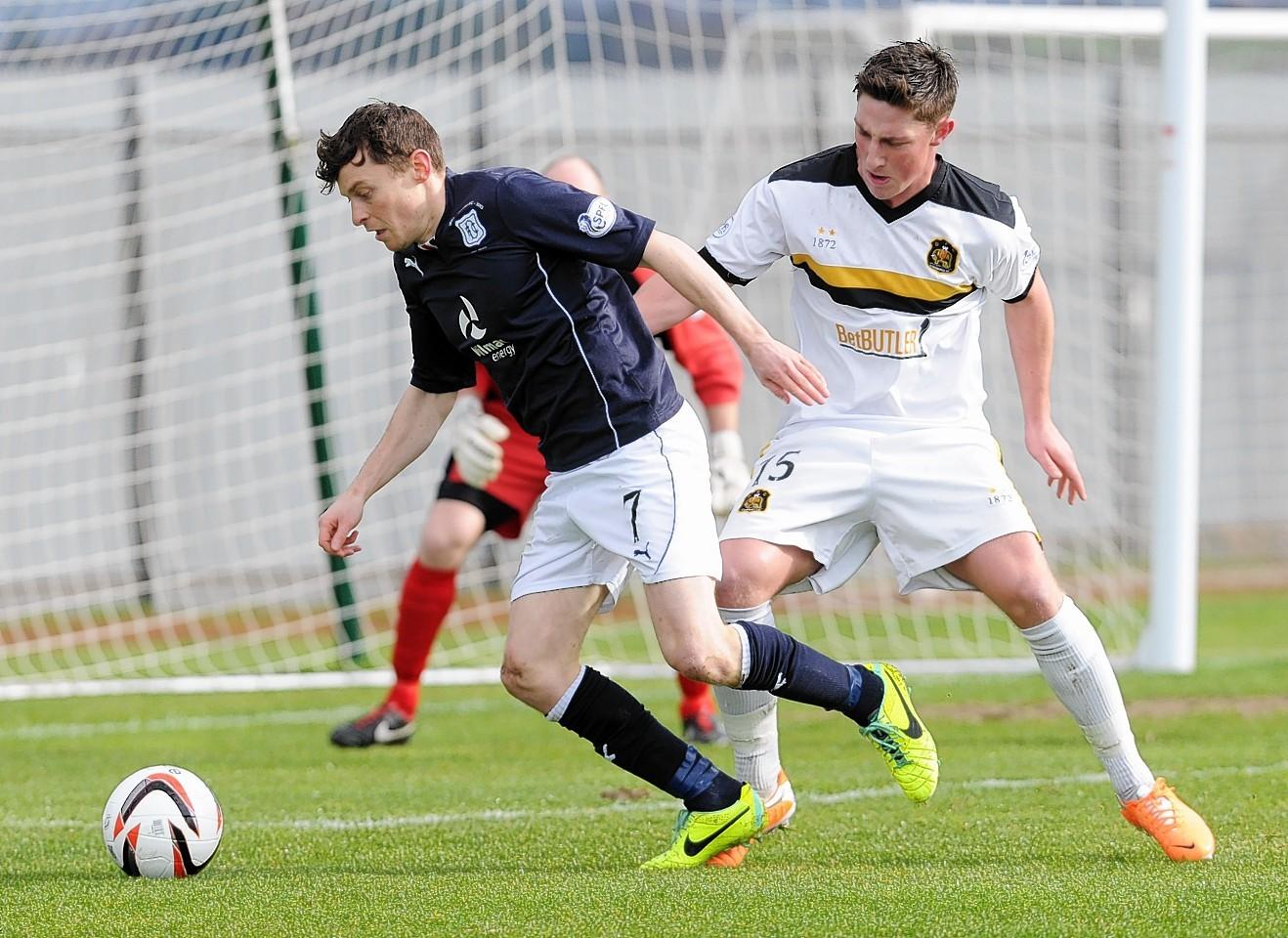 Nicky Riley in action last season against Dumbarton's Jordan Kirkpatrick
