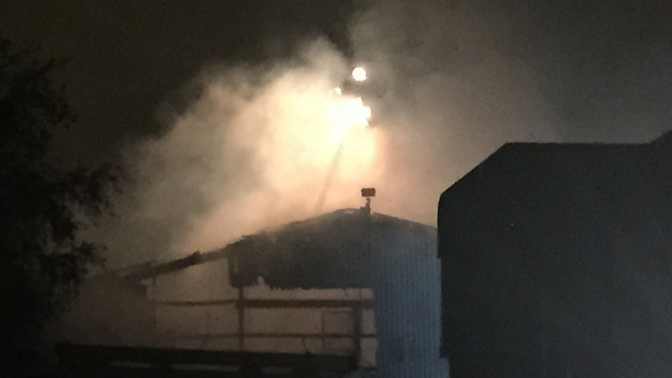 The scene of the blaze at a fireworks factory in Stafford (Staffordshire Police/PA)