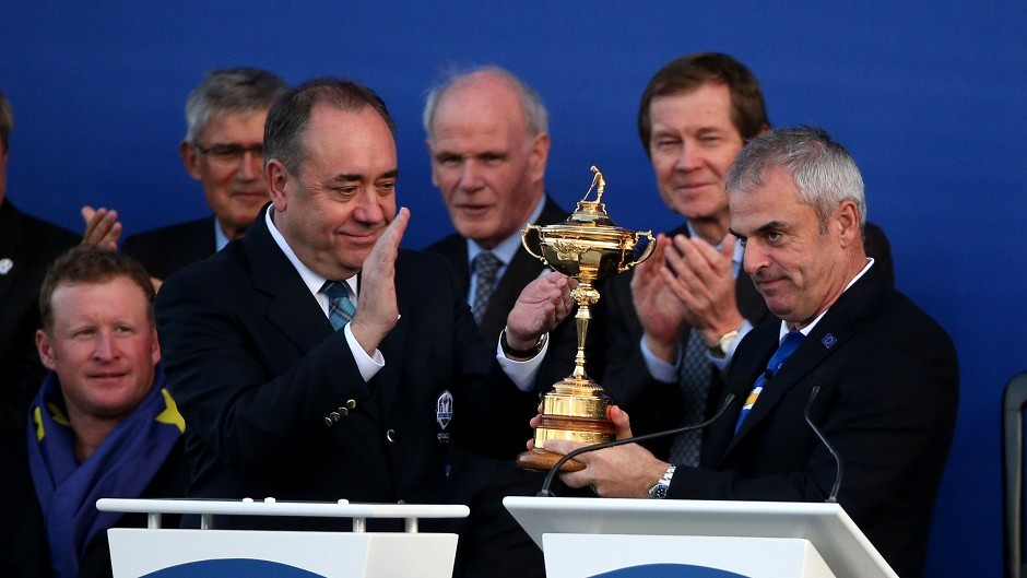 First Minister Alex Salmond (left) presents Europe captain Paul McGinley with the Ryder Cup at one of Scotland's high profile 2014 events