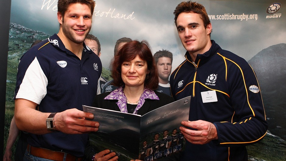 Lothans MSP Sarah Boyack with rugby players Thom Evans and Ally Hogg