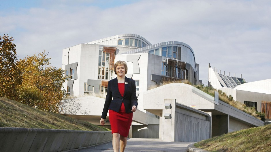 Nicola Sturgeon outside the Scottish Parliament