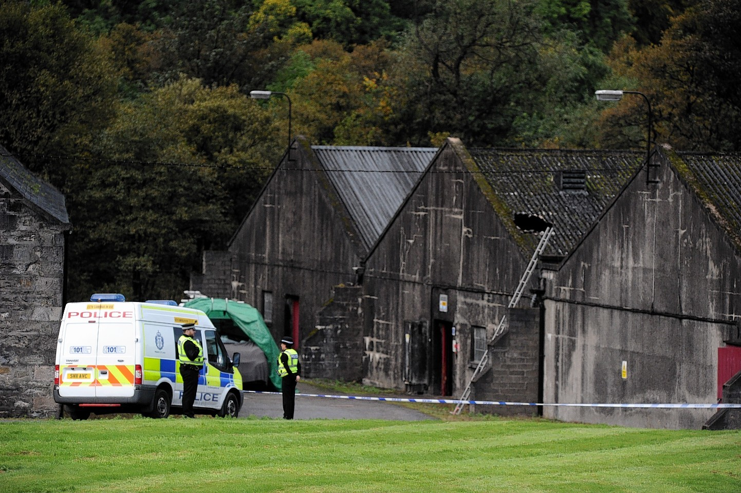 Police at Parkmore Distillery