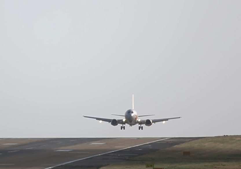 The plane coming in to land