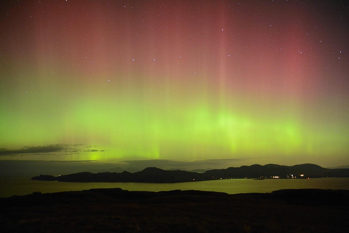 Northern Lights on Ardnamurchan, taken from Mull