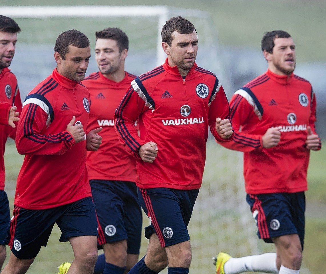 The Scotland squad training yesterday ahead of Saturday's match with Georgia