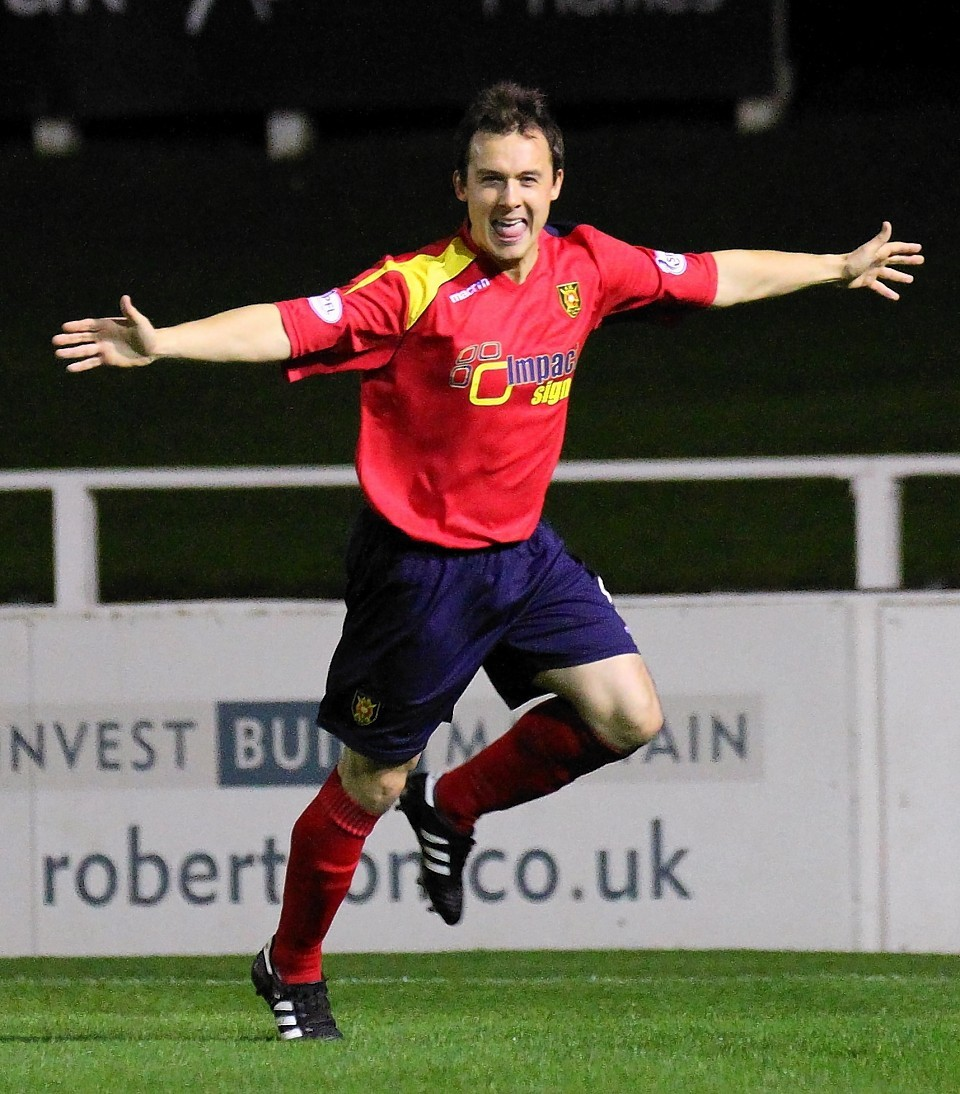 Scott Chaplain shows his delight at netting the opening goal