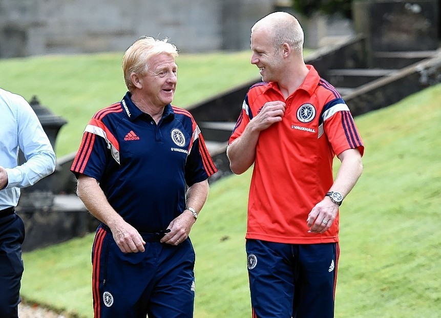 Gordon Strachan and Steven Naismith share a joke