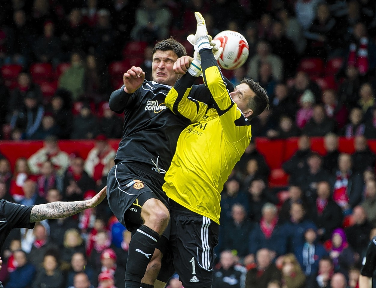 The Dons players felt John Sutton fouled Jamie Langfield in the build up to the goal