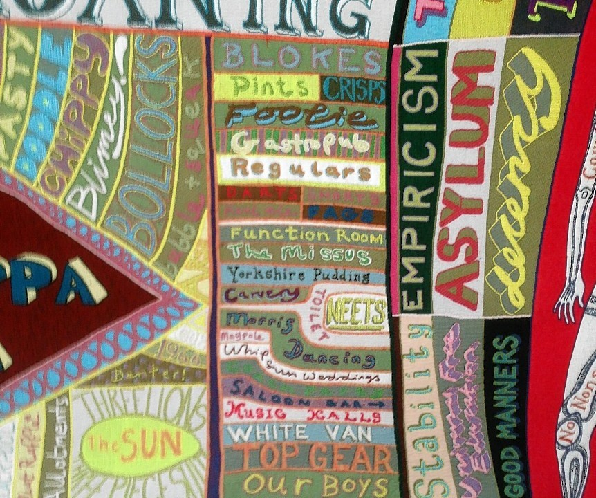 A close-up of Grayson Perry's 'Comfort Blanket' at the National Portrait Gallery