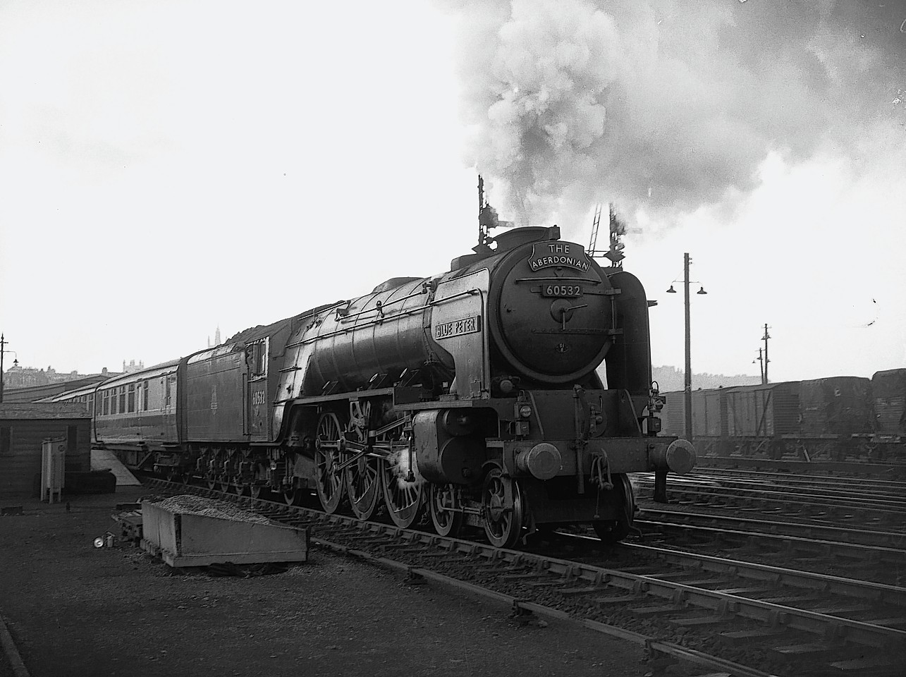 The Blue Peter steam train, seen here on its last run from Aberdeen on August 21, 1957