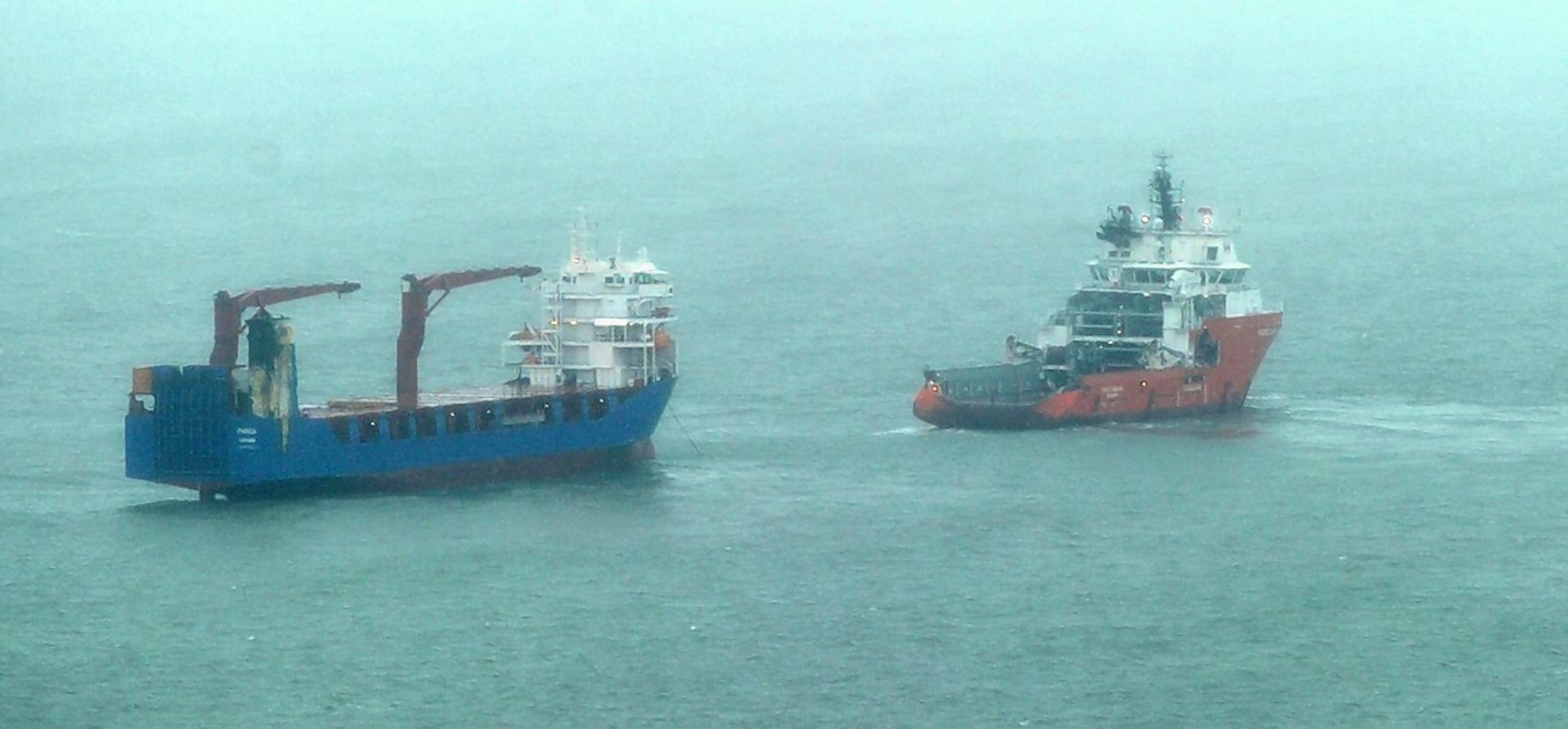 The Parida and tug boat, the Pacific  Champion