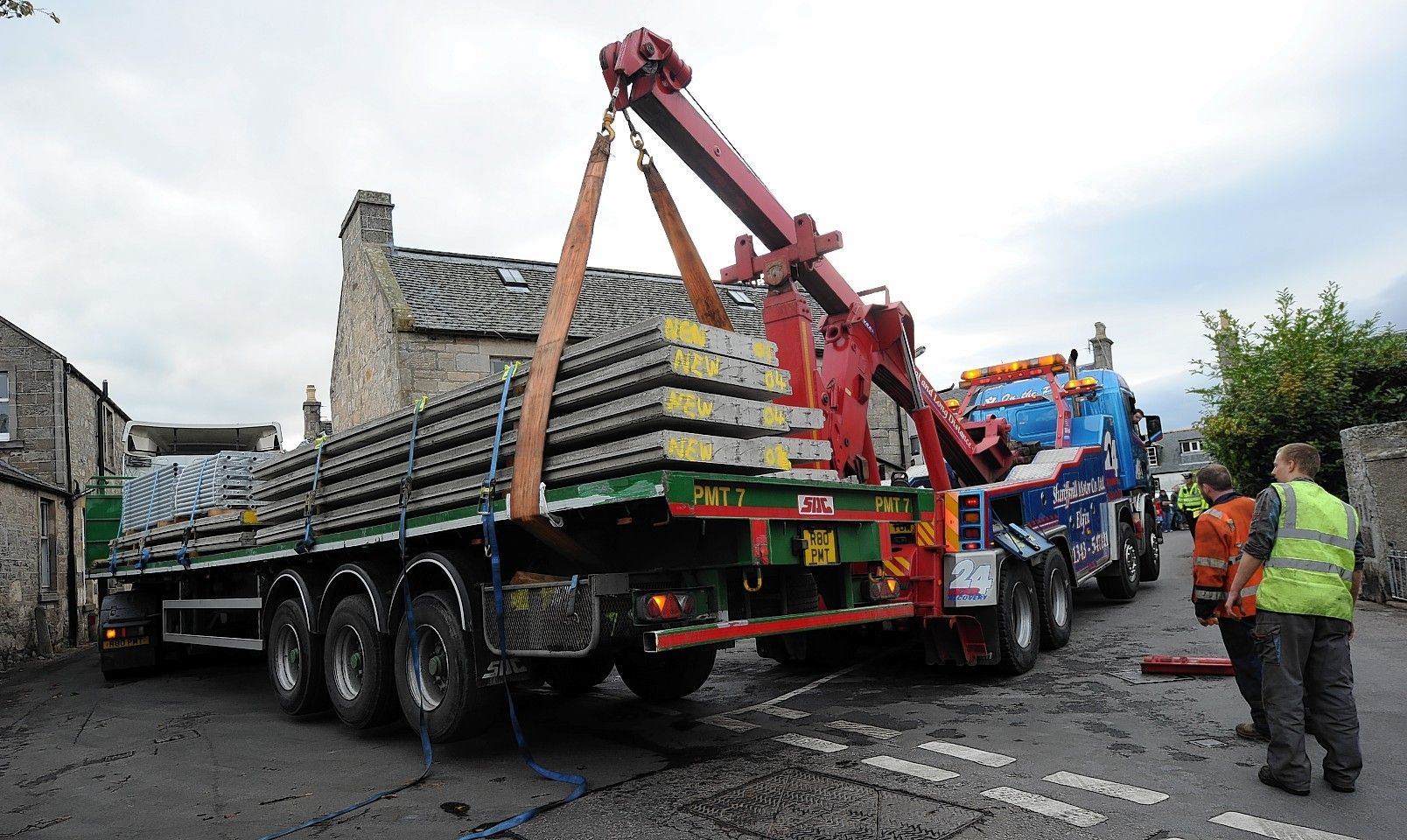 The lorry was lifted to safety