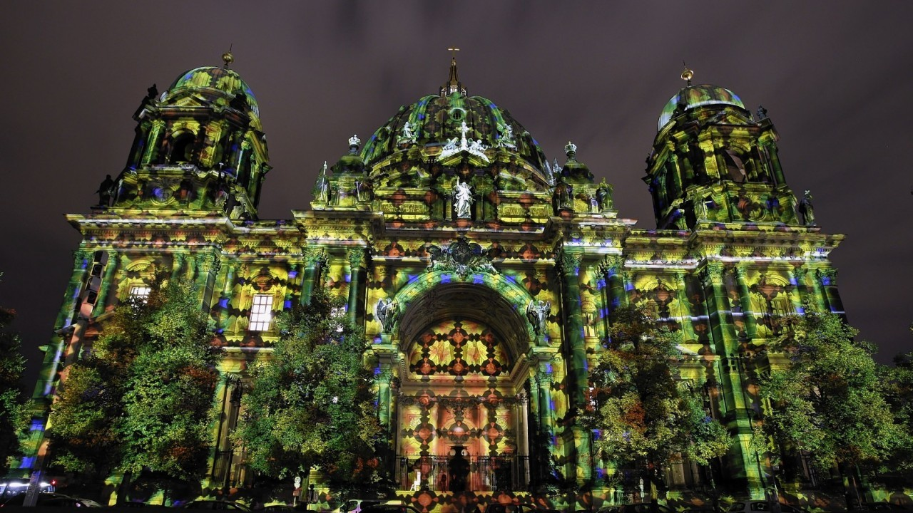 The Berlin Cathedra is illuminated on the eve of the official start of the 10th 'Festival of Lights' in Berlin, Germany