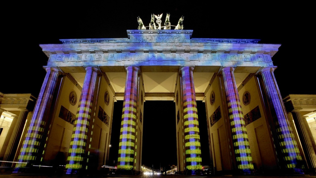 The Brandenburg Gate is illuminated on the eve of the official start of the 10th 'Festival of Lights' in Berlin, Germany