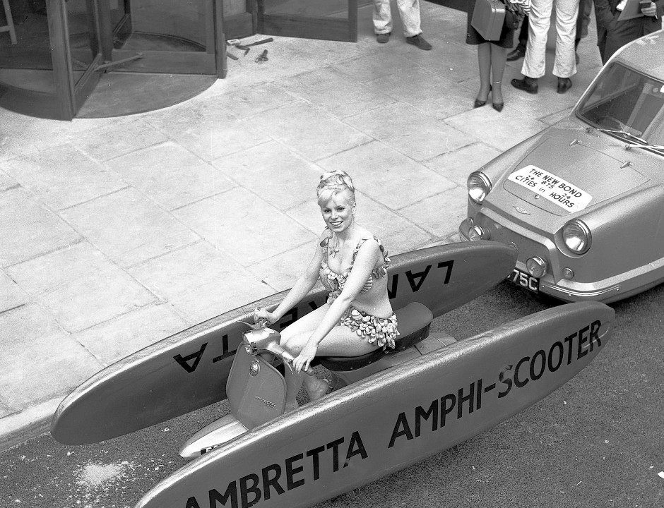 An amphibious scooter in an archive of weird and wacky innovations has been unearthed by an amateur historian as he trawled through a collection of images spanning the last 100 years