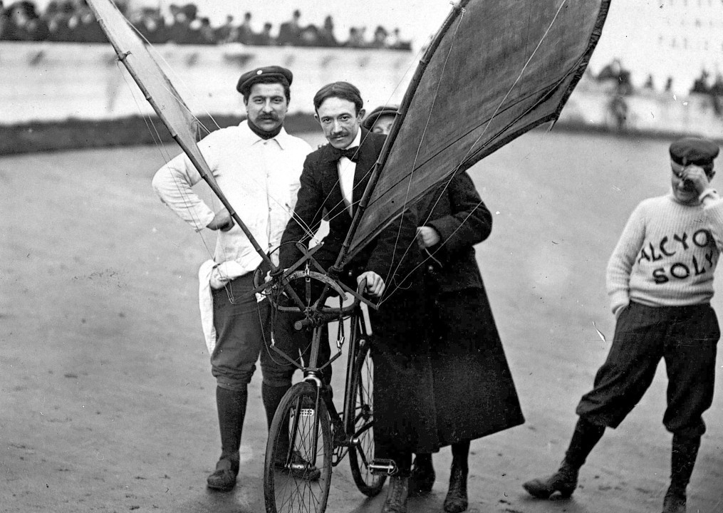 An experimental flying bicycle in an archive of weird and wacky innovations has been unearthed by an amateur historian as he trawled through a collection of images spanning the last 100 years