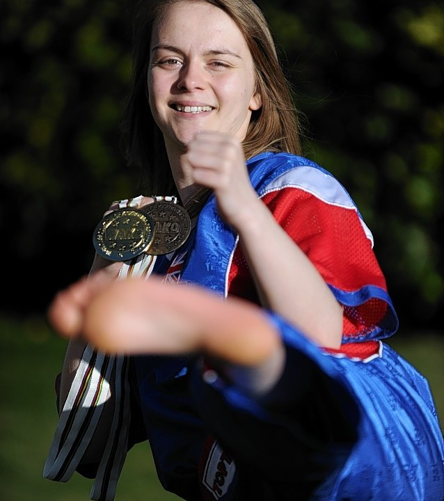 Kickboxer, Jodi Henderson, from Quarrelwood, Elgin, after winning Team Gold and individual Bronze medals at the world championships in Italy