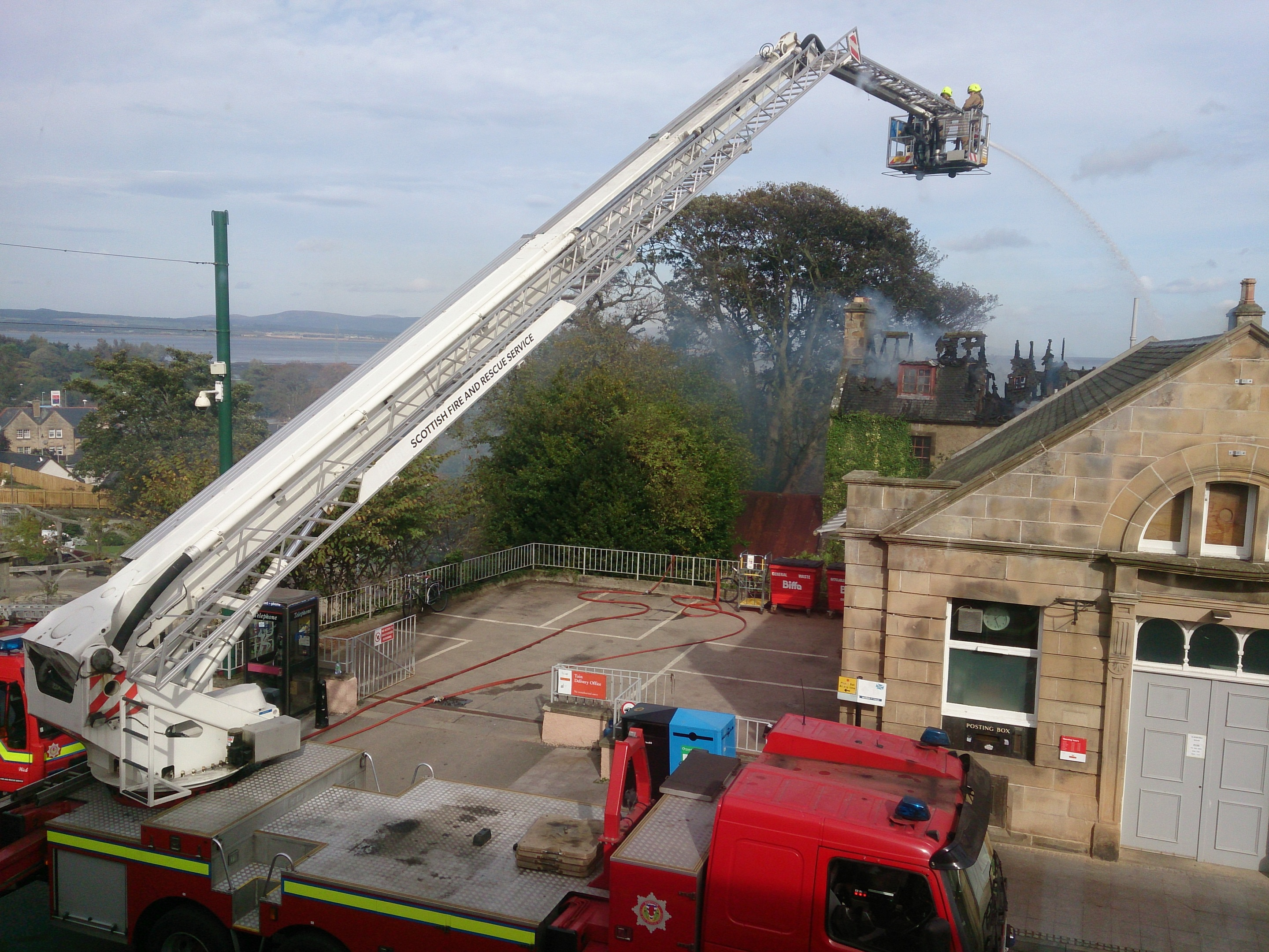 Firefighters used a hydraulic platform to extinguish the blaze