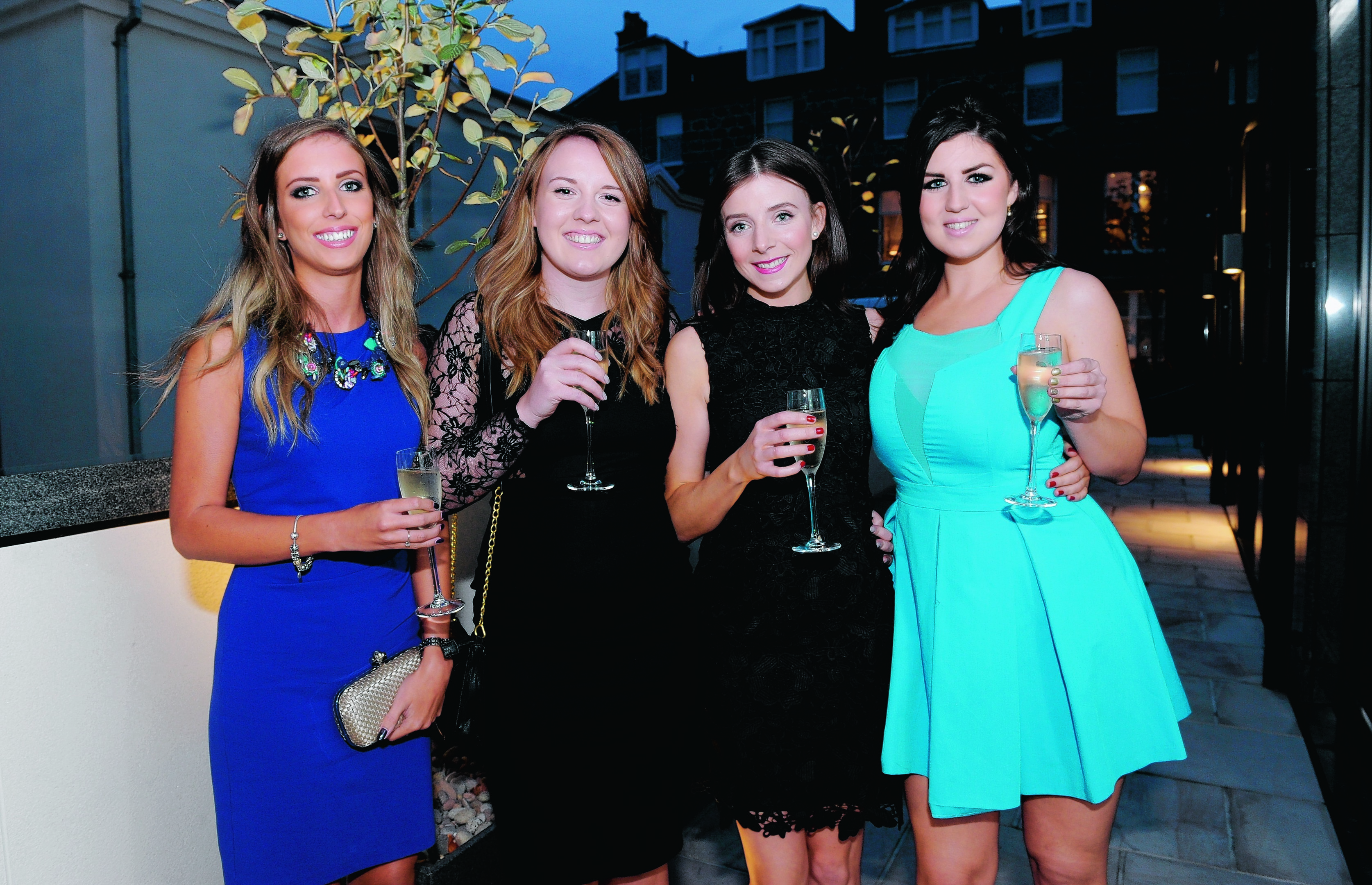 Dannielle McAllister, Gillian Wright, Louise Aitken and Holly McLennan attending the Aberdeen Communications Group media ball at the Chester Hotel.